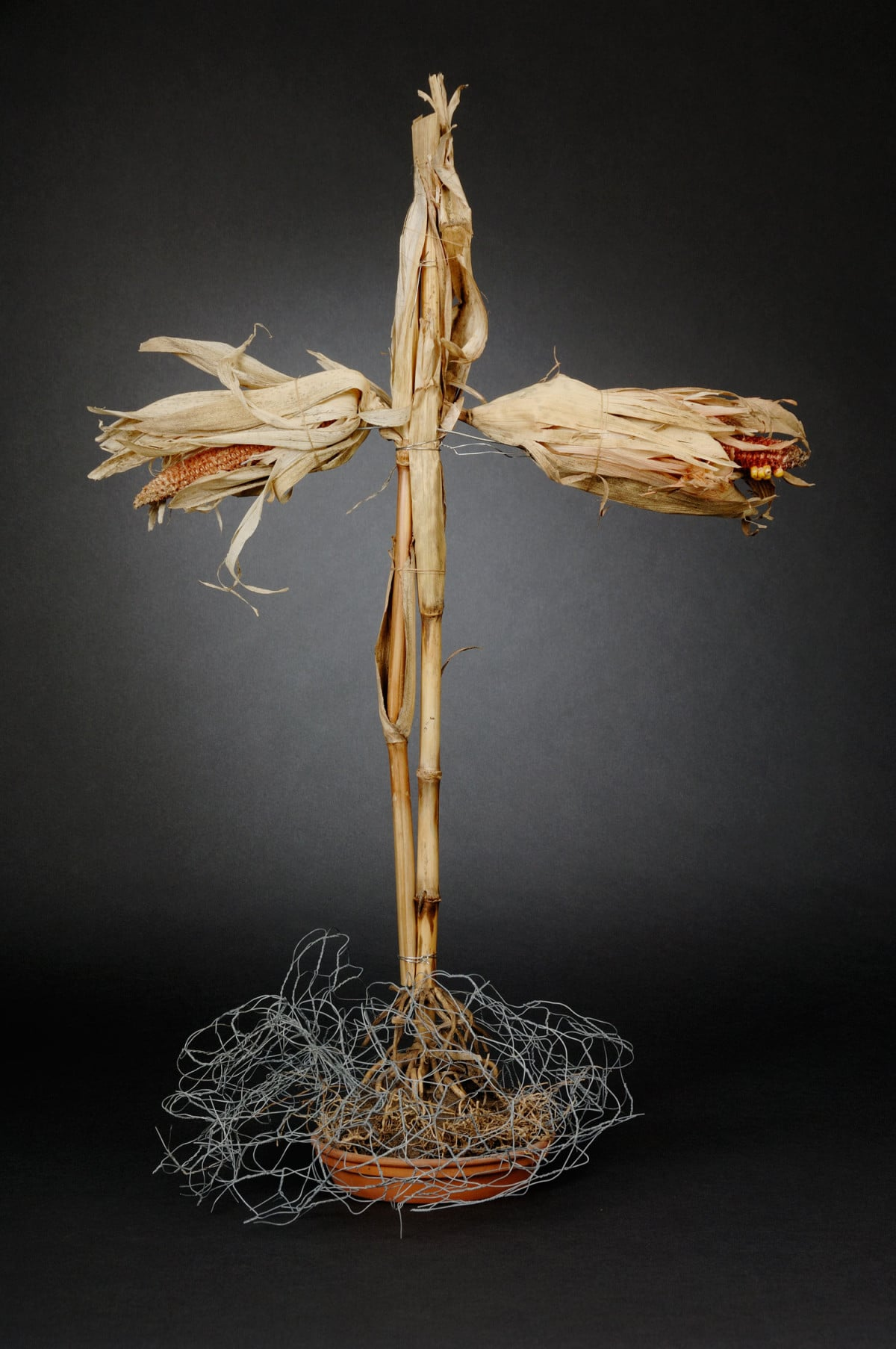 One of a lenten series of crosses made from different found materials.