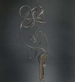 welded cut steel and steel rod make this strong and humorous cornstalk.